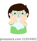 Sick boy runny nose vector. 31054902
