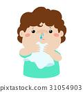 Sick boy runny nose vector. 31054903