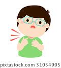 Sick boy sore throat cartoon vector. 31054905