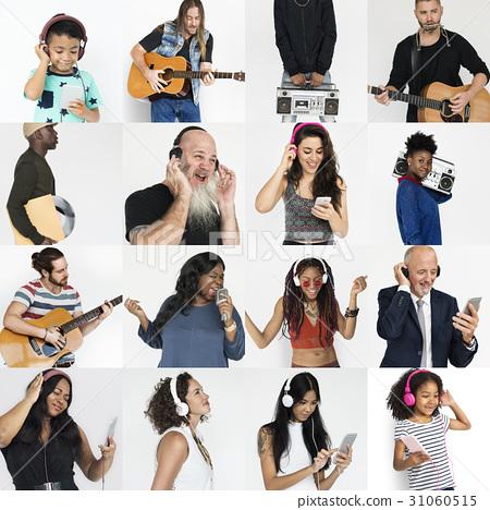 Set of Diversity People Listening Music Studio Collage 31060515