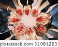 Group of hands holding red ribbon stop drugs and HIV/AIDS awareness 31061283
