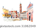 Colored watercolor sketch of old town in Europe 31062049
