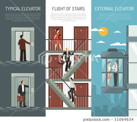 Elevator Escalator Stairs Vertical Banner Set 31064634