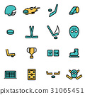 Vector line hockey icon set 31065451