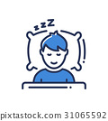 Sleep - modern vector single line icon 31065592