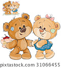 Vector illustration of a brown teddy bear holding 31066455