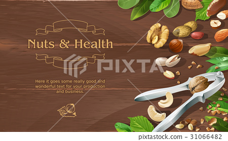 Mix of natural raw nuts on wooden background 31066482