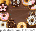 Mix of donuts on wooden background 31066621