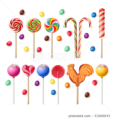 Collection of lollipops with a variety  designs. 31066643