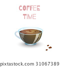 Transparent glass cup with coffee and beans 31067389