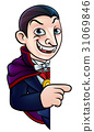 Cartoon Halloween Vampire Pointing at Sign 31069846