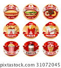 Vector set of fast food logos, stickers 31072045
