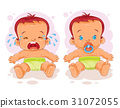 Vector illustration two baby in diapers 31072055