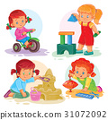 Set icons small girls playing with toys 31072092
