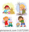 Set icons small girls playing with toys 31072095