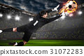 Soccer or football keeper catching ball 31072283