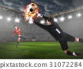 Soccer or football keeper catching ball 31072284