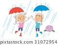 雨と傘と子供 31072954
