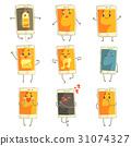 Cute cartoon emoticon phones with funny faces set 31074327