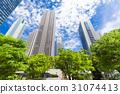 辦公區和綠色的高層建築 31074413