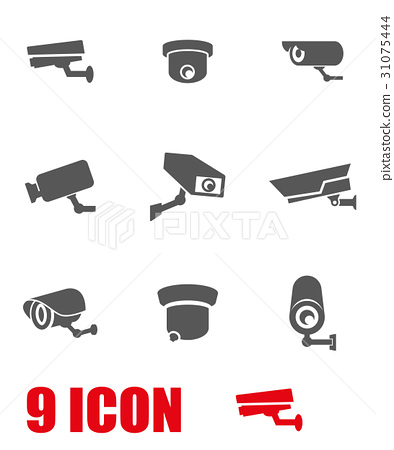 Vector grey security camera icon set 31075444