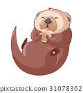 Cartoon smiling Otter 31078362
