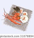 Hand drawn grill sea food sketch vector. 31078894