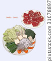 Hot Sukiyaki, shabu. Illustration design. 31078897