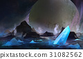 Cold space planet with blue crystal elements. 31082562