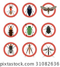 Pest insects control icons. Collection danger ants 31082636