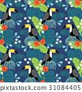 toucan, tropical, pattern 31084405