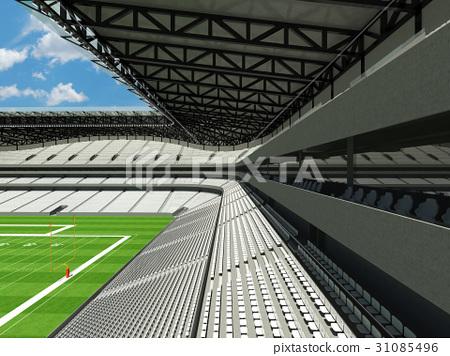Modern American football stadium with white seats 31085496