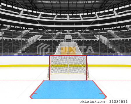 Beautiful Modern ice hockey arena with black seats 31085651