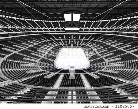 Beautiful Modern ice hockey arena with black seats 31085657