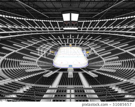 Beautiful Modern ice hockey arena with black seats 31085657