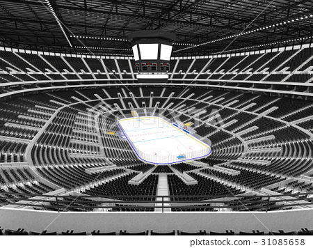 Beautiful Modern ice hockey arena with black seats 31085658