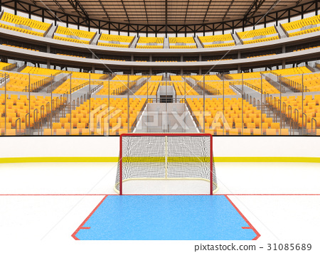Large modern ice hockey arena with yellow seats 31085689