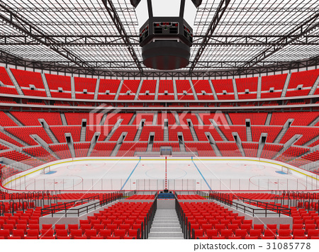 Beautiful modern ice hockey arena with red seats 31085778