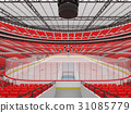 Beautiful modern ice hockey arena with red seats 31085779