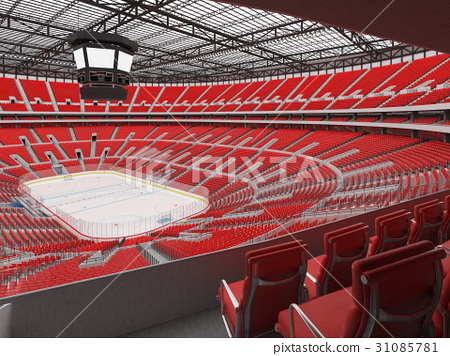 Beautiful modern ice hockey arena with red seats 31085781
