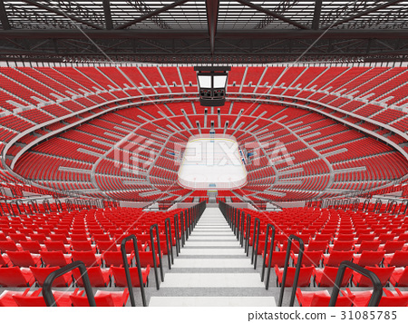 Beautiful modern ice hockey arena with red seats 31085785
