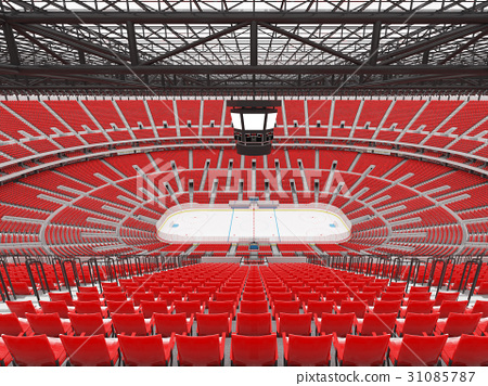 Beautiful modern ice hockey arena with red seats 31085787