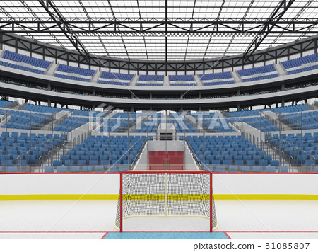Beautiful modern ice hockey arena with blue seats 31085807