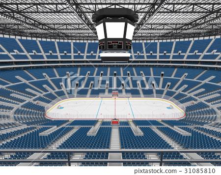 Beautiful modern ice hockey arena with blue seats 31085810