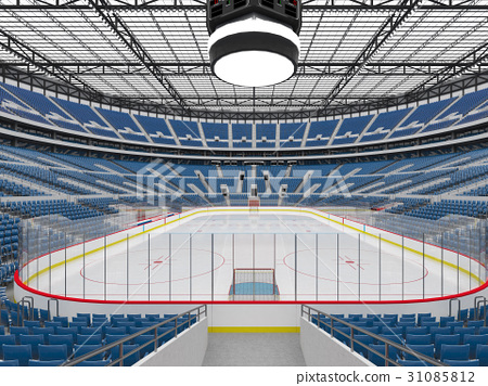 Beautiful modern ice hockey arena with blue seats 31085812