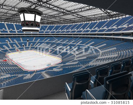 Beautiful modern ice hockey arena with blue seats 31085815