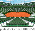 Modern tennis clay court stadium with green seats 31086059