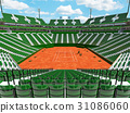Modern tennis clay court stadium with green seats 31086060
