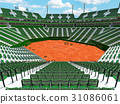 Modern tennis clay court stadium with green seats 31086061