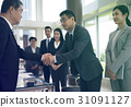 Business people greeting by handshake and take a bow 31091127